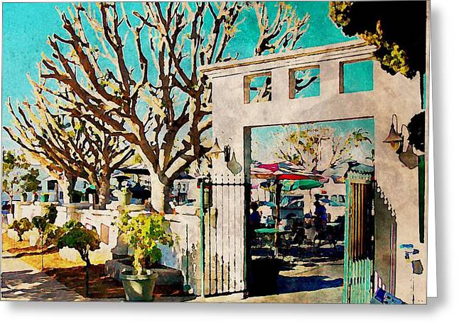 Southwest Gate Print Greeting Cards - Cafe Diego Greeting Card by J S Watson