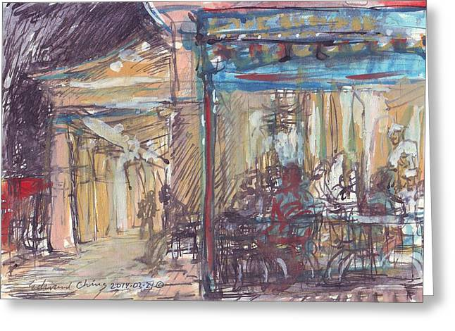 French Door Drawings Greeting Cards - Cafe Du Monde at Night Greeting Card by Edward Ching