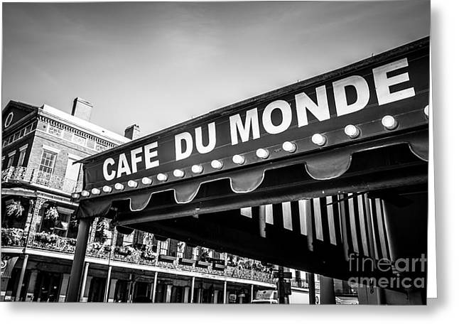 Louisiana Greeting Cards - Cafe Du Monde Black and White Picture Greeting Card by Paul Velgos