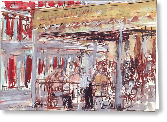 Cajun Drawings Greeting Cards - Cafe Du Monde  Greeting Card by Edward Ching