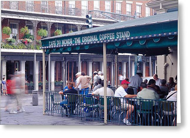 Paved Street Greeting Cards - Cafe Du Monde French Quarter New Greeting Card by Panoramic Images
