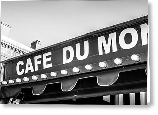 Historical Pictures Greeting Cards - Cafe Du Monde Panoramic Picture Greeting Card by Paul Velgos