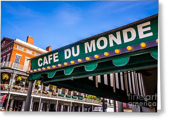 Awning Photographs Greeting Cards - Cafe Du Monde Picture in New Orleans Louisiana Greeting Card by Paul Velgos