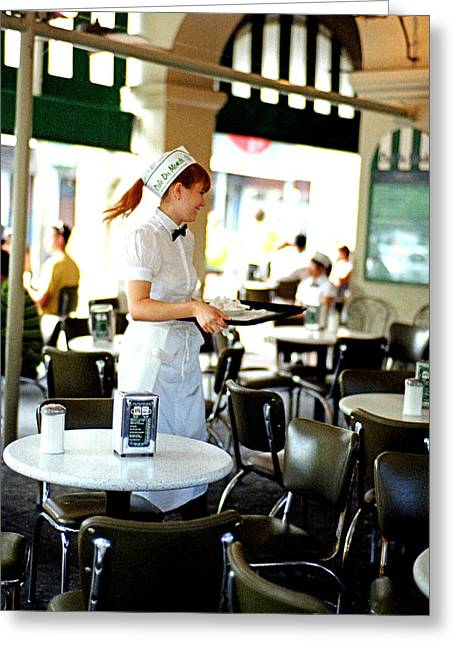 Cajun Cafe Greeting Cards - Cafe Du Monde Waitress Greeting Card by Chris Fender