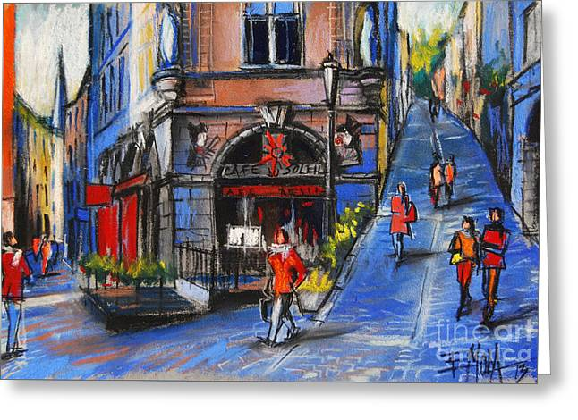 City Life Pastels Greeting Cards - Cafe Du Soleil - Place De La Trinite - Lyon France Greeting Card by Mona Edulesco