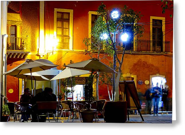 Night Cafe Greeting Cards - Cafe Evening Greeting Card by Douglas J Fisher