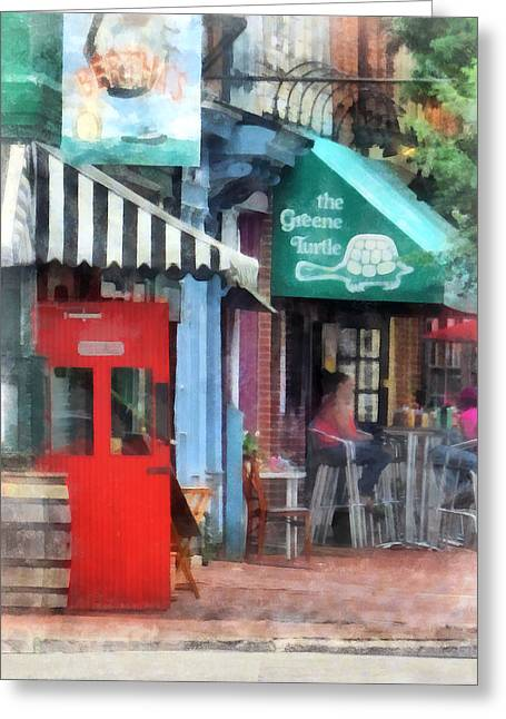 Designs By Susan Greeting Cards - Cafe Fells Point MD Greeting Card by Susan Savad