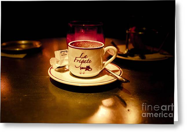 Cafe Pyrography Greeting Cards - Cafe Fr Greeting Card by JM Roy