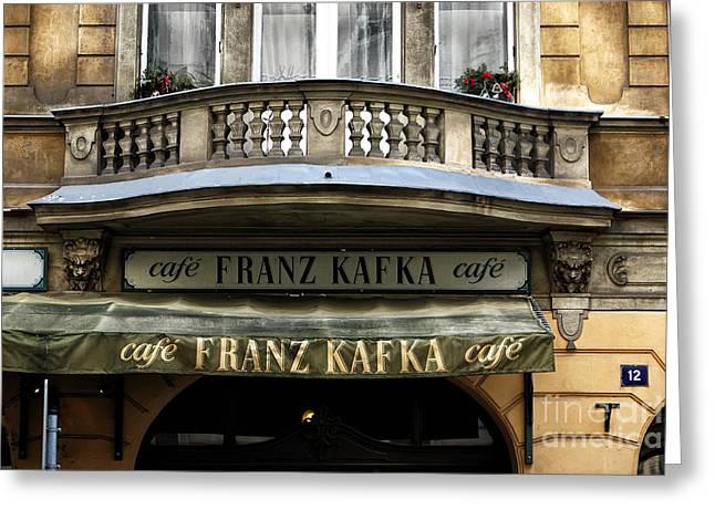 Franz Kafka Greeting Cards - Cafe Franz Kafka Greeting Card by John Rizzuto