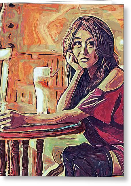 Coffee Drinking Digital Art Greeting Cards - Cafe Greeting Card by Gustav Boye