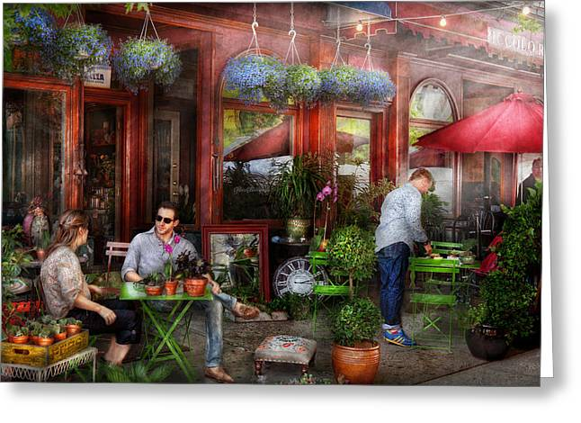 Cafe - Hoboken NJ - A day out  Greeting Card by Mike Savad