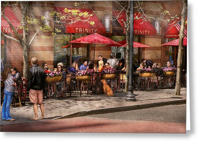 Day Out Greeting Cards - Cafe - Hoboken NJ - Cafe Trinity  Greeting Card by Mike Savad