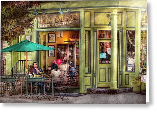 Family Vacation Greeting Cards - Cafe - Hoboken NJ - Empire Coffee and Tea Greeting Card by Mike Savad