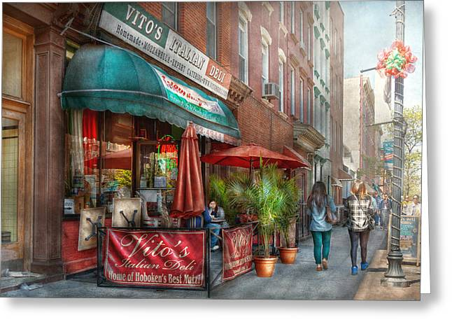 Affordable Kitchen Art Greeting Cards - Cafe - Hoboken NJ - Vitos Italian Deli  Greeting Card by Mike Savad