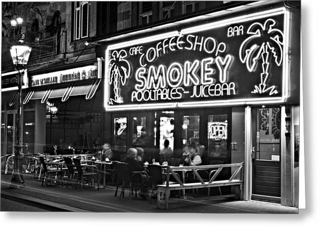 Night Cafe Greeting Cards - Cafe in Amsterdam / Netherlands Greeting Card by Barry O Carroll