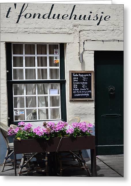 Europe Greeting Cards - Cafe in Belgium Greeting Card by Linda Covino