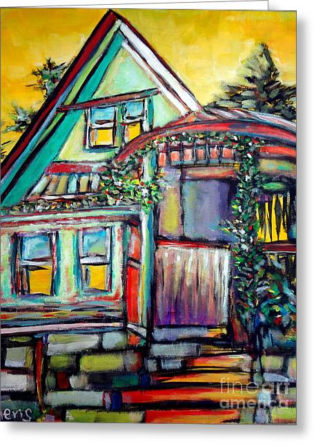 Vivid Colour Drawings Greeting Cards - Cafe in Revelsoke BC Canada Greeting Card by Aeris Osborne