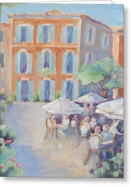 Al Fresco Greeting Cards - Cafe in Roussillon Greeting Card by Linda  Wissler