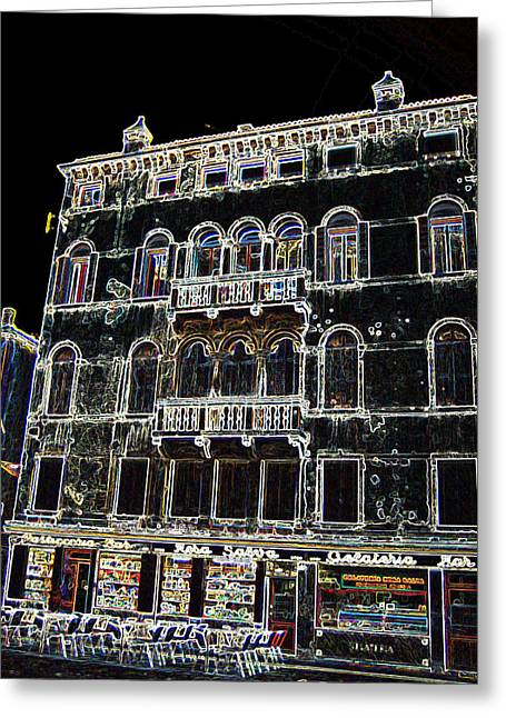 Night Cafe Mixed Media Greeting Cards - Cafe in Venice Greeting Card by Takami