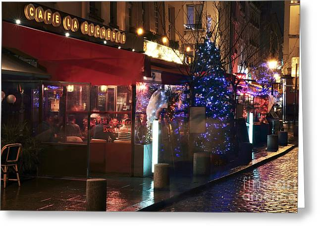 Night Cafe Photographs Greeting Cards - Cafe La Bucherie Greeting Card by John Rizzuto