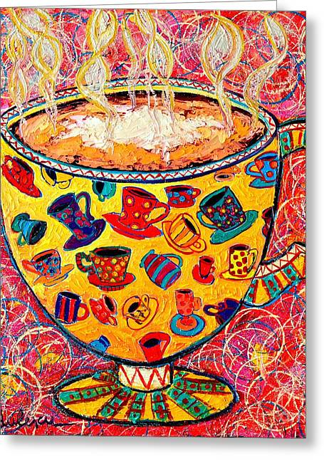 Green And Yellow Abstract Greeting Cards - Cafe Latte - Coffee Cup With Colorful Coffee Cups Some Pink And Bubbles  Greeting Card by Ana Maria Edulescu