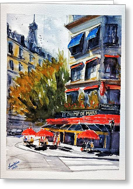 Champs Greeting Cards - Cafe Le Champ de Mars Greeting Card by James Nyika