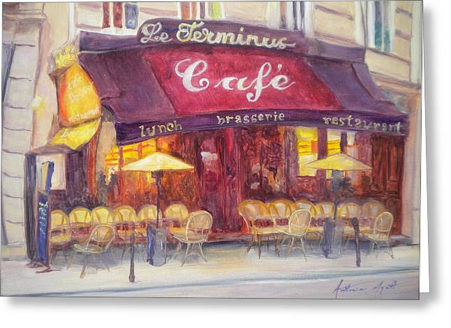 Facade Photographs Greeting Cards - Cafe Le Terminus, 2010 Oil On Canvas Greeting Card by Antonia Myatt