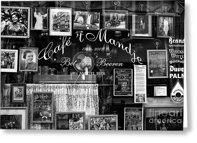 Old Cafe Greeting Cards - Cafe Mandje mono Greeting Card by John Rizzuto