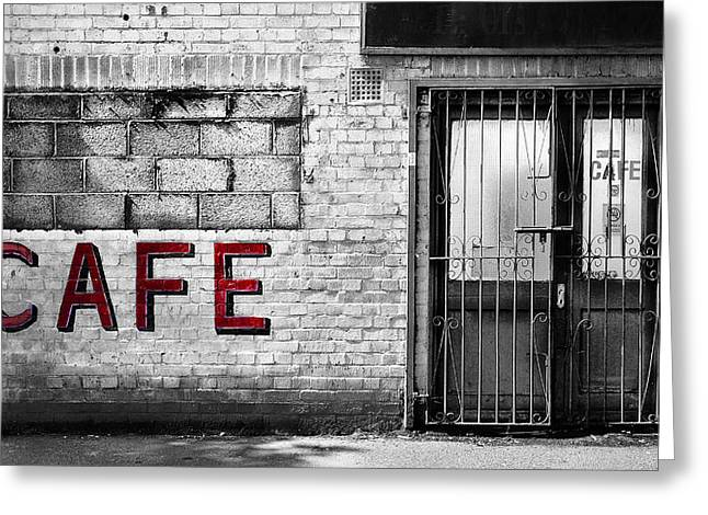Urban Buildings Photographs Greeting Cards - Cafe Greeting Card by Mark Rogan