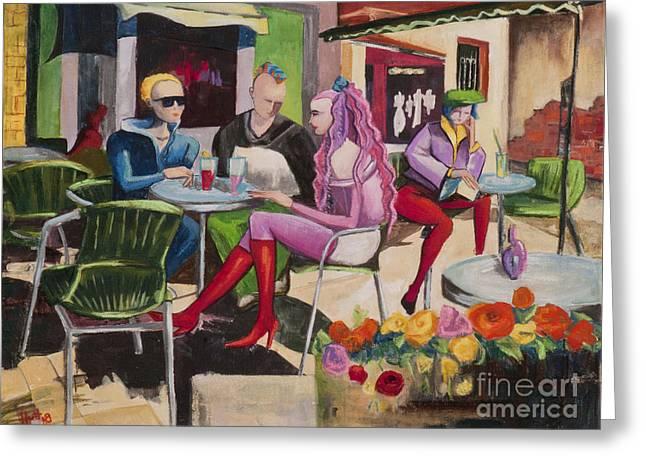 Elisabeta Hermann Greeting Cards - Cafe Marseille Greeting Card by Elisabeta Hermann