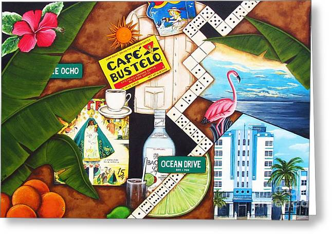 Miami Paintings Greeting Cards - Cafe Miami Greeting Card by Joseph Sonday