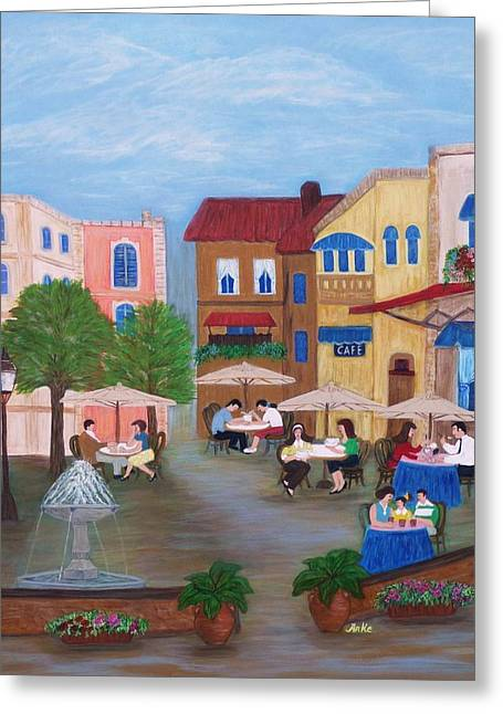 Coffee Drinking Paintings Greeting Cards - Cafe Moments Greeting Card by Anke Wheeler