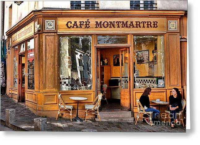 Shop Window Greeting Cards - Cafe Montmartre Greeting Card by Olivier Le Queinec