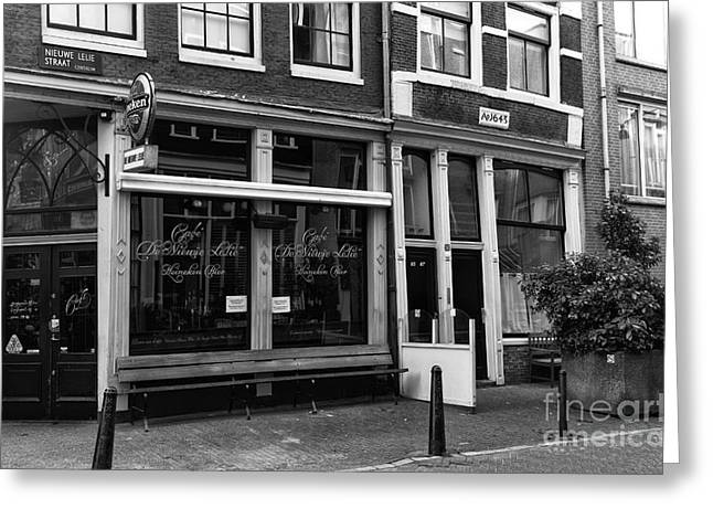 Old Cafe Greeting Cards - Cafe Nieuwe Lelie mono Greeting Card by John Rizzuto