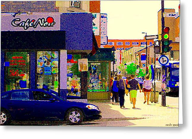 Montreal Pizza Places Greeting Cards - Cafe Noir Mont Royal Espresso Bar Salads Panini Pizza 24 Hrs Montreal Bus Scenes Art Carole Spandau Greeting Card by Carole Spandau