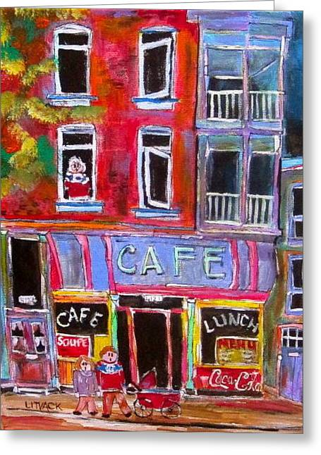 Litvack Greeting Cards - Cafe Notre Dame Greeting Card by Michael Litvack