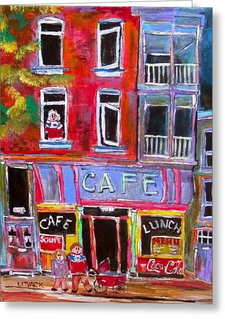 Michael Litvack Greeting Cards - Cafe Notre Dame Greeting Card by Michael Litvack