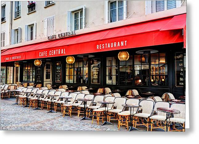 Cafe On Rue Cler Greeting Card by Mel Steinhauer