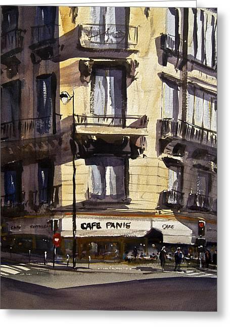 Corner Cafe Greeting Cards - Cafe Panis Greeting Card by James Nyika
