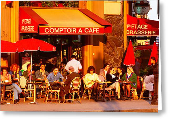 Coffee Drinking Greeting Cards - Cafe, Paris, France Greeting Card by Panoramic Images