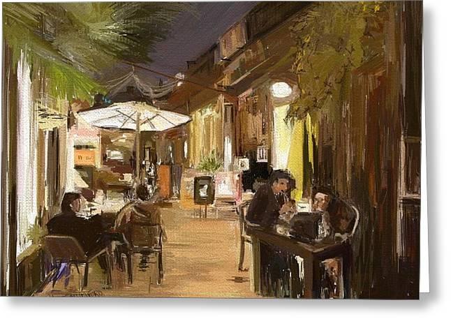 Night Cafe Digital Art Greeting Cards - Cafe Paris  Greeting Card by Stephen john Mumford