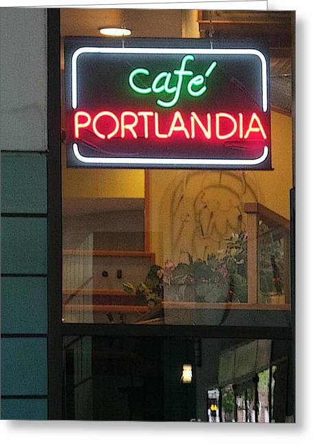 Coffe Greeting Cards - Cafe Portlandia Greeting Card by David Bearden