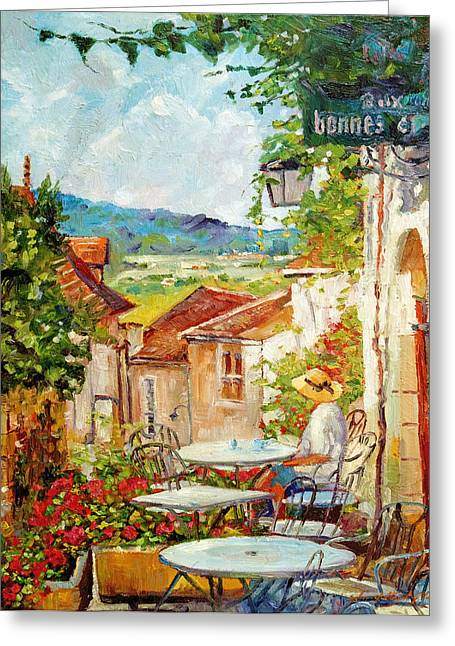 Sunhat Greeting Cards - Cafe Provence Morning Greeting Card by David Lloyd Glover