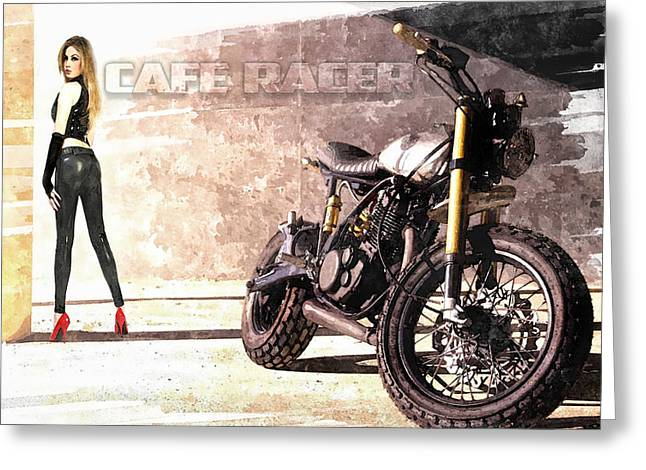 Yamaha Greeting Cards - Cafe Racer Greeting Card by Peter Chilelli