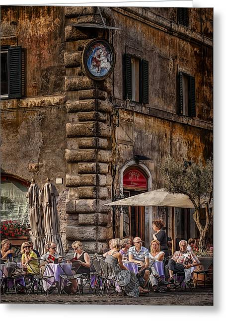 Wine Woman Greeting Cards - Cafe Roma Greeting Card by Erik Brede