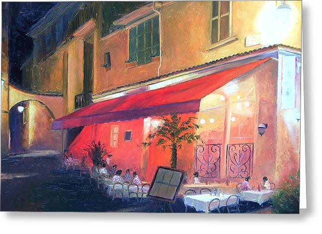 Night Cafe Greeting Cards - Cafe Scene Cannes France Greeting Card by Jan Matson