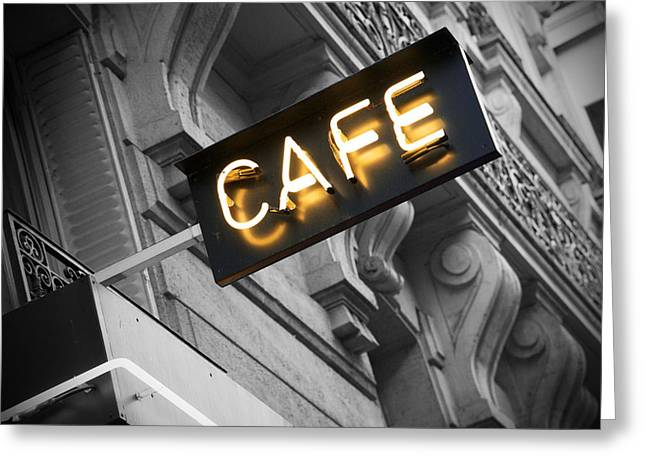 Night Cafe Greeting Cards - Cafe sign Greeting Card by Chevy Fleet