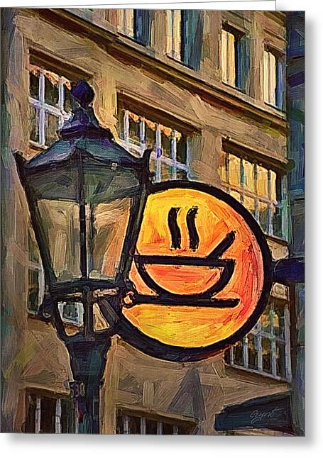 Oil Lamp Mixed Media Greeting Cards - Cafe sign Greeting Card by Gynt