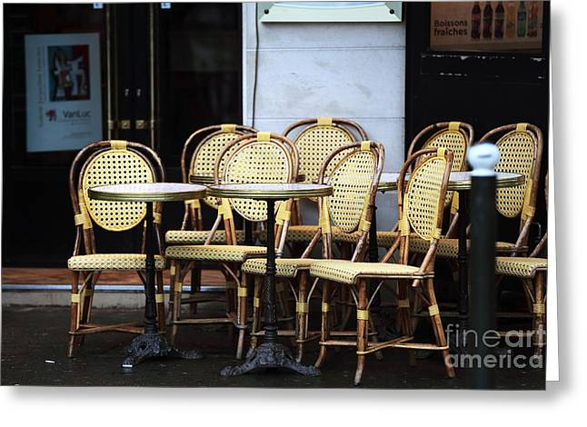 Table And Chairs Greeting Cards - Cafe Tables and Chairs Greeting Card by John Rizzuto