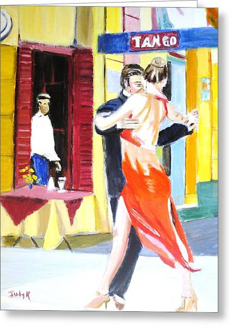 Cafe Tango Greeting Card by Judy Kay